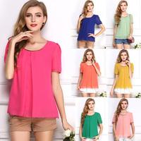 SZ055 2014 Fashion Women's Chiffon Blouses Spring Summer Plus Size Casual Shirt,Candy Colors Tops for Women Blusas Femininas S&Z