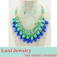 Bohemian Tassel Multilayer Water Drop Jewelry Set Necklace Pendant Drop Earrings Set Fashion European Statement Jewelry