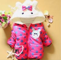 Free shipping 2014 New Winter Lovely Dot Cartoon Baby Girls Outerwear Infant Cartoon Coat A309