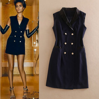 Free Shipping ! Fashion Summer 2014 European New Brand Sexy Notched Sleeveless Double Breasted Slim Navy Mini Dress