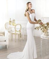 Crepe wedding dress 2014 with Wedding dress with asymmetric draped bodice and flared skirt wedding dress 2014