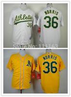 2014 New Athletics Derek Norris  #36 Yellow,White Cool Base Baseball Jersey size:48~56+Mix Order,Free Shipping