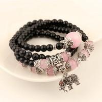 2014 New Designer Vintage Black Beads Chain Garnet Elephant Charm Pendant Bracelets & Bangles Elastic For Women Free Shipping