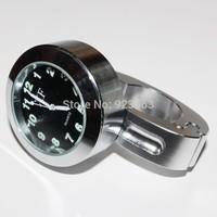 "7/8"" 1"" waterproof Motorcycle Handlebar Chrome Black Dial Clock  For Honda Yamaha Suzuki Kawasaki Ducati Harley"
