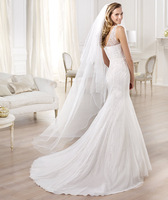 Tulle mermaid wedding dress with silver mother-of-pearl gemstone embroidery sheer layer sweetheart  wedding dress 2014