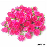 New arrival Rose Red 100pcs/lot 3CM Artificial Roses Flower Heads  For Home And Wedding Decoration Flower Heads Free shipping