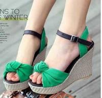 2014 summer sandals bow high-heeled women's platform open toe wedges sandals platform shoe