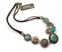 fashion accessories vintage oil green necklace