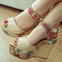 2014 women's wedges shoe platform open toe platform high-heeled sandals bohemia women's shoes japanned leather