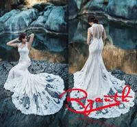 RBC 662 Amazing Mermaid Wedding Dress 2014 New Appliques Lace Robe De Mariage