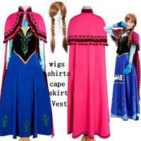 2014 Frozen Movie fantasia infantil anna elsa princess cosplay anime halloween christmas Character party adlut dresses wigs cape