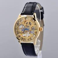 Hot selling genuine leather Band men/man hand Mechanical waterproof dress wrist Watch Mens  Wristwatch