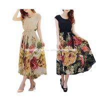 Hot Fashion Women's Floral Print Chiffon Beach Summer Sundress Casual Dress