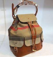 brand canvas bucket bag Genuine Leather Handbag Vintage Plaid Canvas Shoulder Bags Women travel bag
