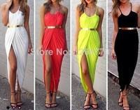 women summer dress 2014 desigual Free shipping Casual beach dress yellow cross. With metal belt dresses