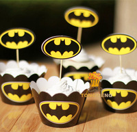 2014 New The Avengers batman cupcake wrappers&toppers picks decoration kids birthday party supplies(60pcs wraps+60 toppers)