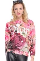 2014 di r pink rose 3d digital print pullover long-sleeve T-shirt female