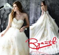 RBC 663 Elegant Royal Train Wedding Dresses 2014 New Bow Appliques Organza Wedding Gowns A Line Plus Size Wedding Dress