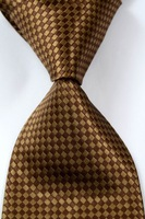 New Classic Check Coffee JACQUARD WOVEN Silk Men's Tie Necktie #255
