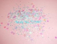 50gram x White Color Mixed Shining Glitter Hexagon Powder Shape for Nail Art Decorations