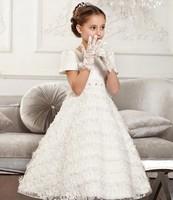 Free shipping 2014 new Girls Dress Princess dress children's wear Party veil Big bow girl wedding flower Baby girls dress White
