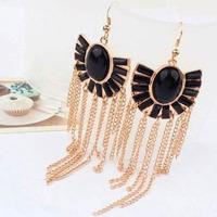 2014 New Vintage Antique Style Big Black Dangle Chandelier Drop Pierce Stud Earrings For Women