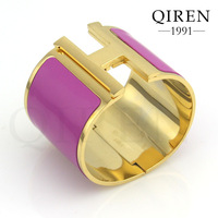 Fashion stainless steel plated yellow gold h bangle bracelets with H clasp women bangles QR-555