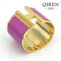 Popular Stainless Steel Plated In Golden Bangle Purple Enamel Bracelets H Clasp Wide Style QR-555