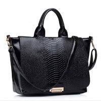 2014 New Style Trendy Snake Skin Genuine Leather Handbag Brand Designer Women Shoulder Bag Tote BB0927