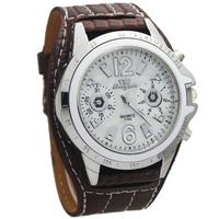 Hot! Brown PU Leather Band Gentle Men Man's Watch Boy's Gifts Sports Quartz Watch Hours Clocks Wrist Watches, Free Shipping