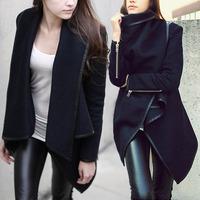 2014 New Fashion Womans Woolen Winter Warm Zipper PU Edge Slim Trench Women Long Coat Outwear S-XXL Plus size Free shipping