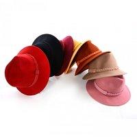 Wholesale Classic NEW Women Winter Wool Felt Fedora Hat Womens Fedoras Cap Ladies Spring Trilby Caps Lady Fall Brim Felt Hats