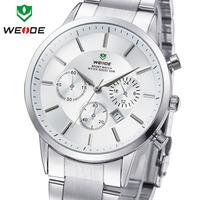 2014 New Sale WEIDE Watches Men Quartz Sports Watch Diver Luxury Brand Men Full Steel Wristwatches  #WH3312White