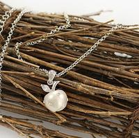 925 silver pearl apple short necklace  Micro inlay zircon