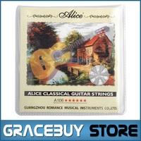 Classical Guitar String cordas da guitarra 1 set Clear Nylon String Hard Tension - Alice A106-H encordoamento