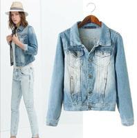 Cardigans Limited Worsted Casacos Femininos Jackets Washed Jeans Wear Slim Sleeved Cardigan Jacket Coat Women Clothing 2014 New