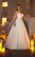 2014 Novia Stella York  Bateau Beaded Sleeveless A Line Wedding Bridal Dresses