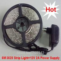 5m 300 LED 3528 SMD 12V flexible light 60 led/m white/warm white/blue/green/red/yellow + power adapter EU/US Plug free ship