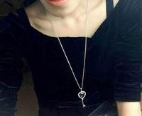 925 silver Key Crystal love  short necklace inlaid zircon