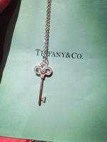925 silver Key short necklace inlaid zircon