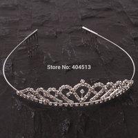 Hot sell Pretty Rhinestone Crown Headband Silver