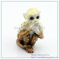 Lovely monkey shape trinket box with rhinestone for decoration