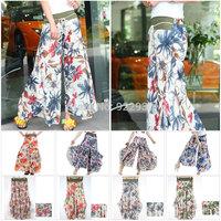 Womens Bohemia Culottes Retro National Flowers Print  Wide Leg Pants Long Loose Trousers Elegant Dress Style free shipping