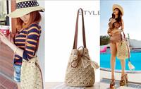Vintage boho hawaii string drawstring Straw shoulder hand clutch satchel bag new