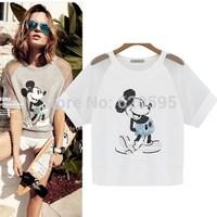 2014 Summer Women T Shirt Casual Cotton Ladies T-shirt Mickey Sequin Embroider Fashion Blouse Women Shirt Plus Size S-XL K73510