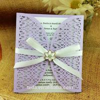 Laser cut filigree wedding invitation card  Wrap+Inner paper+Envelope+Ribbon+Buckle/Set