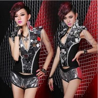 Hot sale free shipping women stage wear performance costume girl jazzy patch metal vest rock tassel jacket jazzy dance clothes
