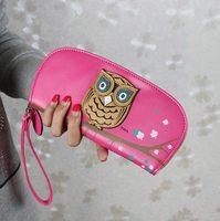 Fashion Cute Lifelike Owl Folded Zip Wallets Purse Bag Wristlet Pocketbook  New Arrival Free Shipping