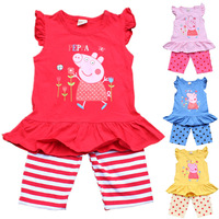 baby products peppa pig vest suit with shorts 3~9age 2014 summer two-piece suit brand children's apparel