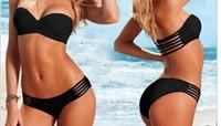Summer Black Bikini Women Swimwear bandage Swimsuit VS padded swimming wear Summer sets